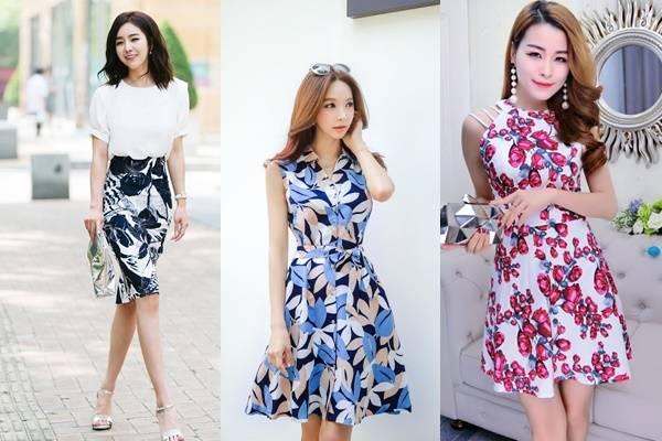 Mẫu váy công sở họa tiết hoa - béo gầy đều đẹp