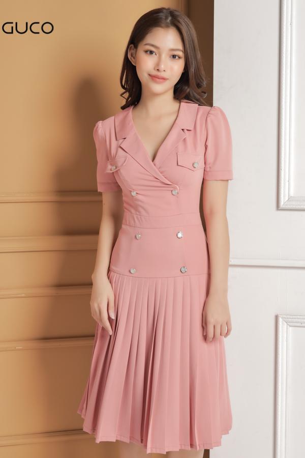 đầm cổ vest màu hồng xếp ly đẹp