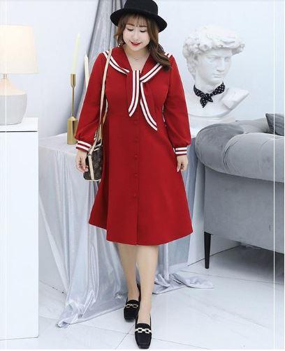 đầm suông màu đỏ cho người mập