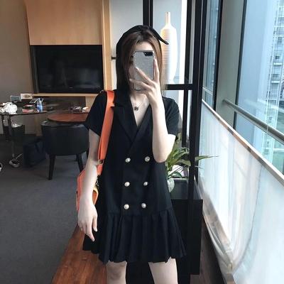 Đầm công sở cổ vest chân váy xếp ly lịch sự, ấn tượng 1