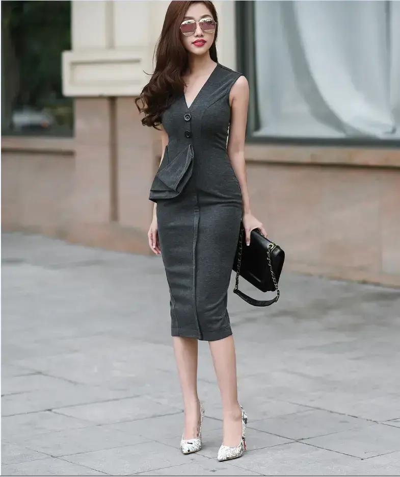 thân hình đầy đặn khỏe khoắn mặc đầm công sở nào