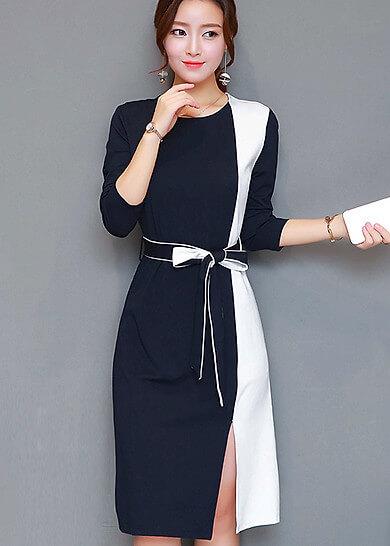 Đầm xẻ tà thắt eo phối màu sành điệu