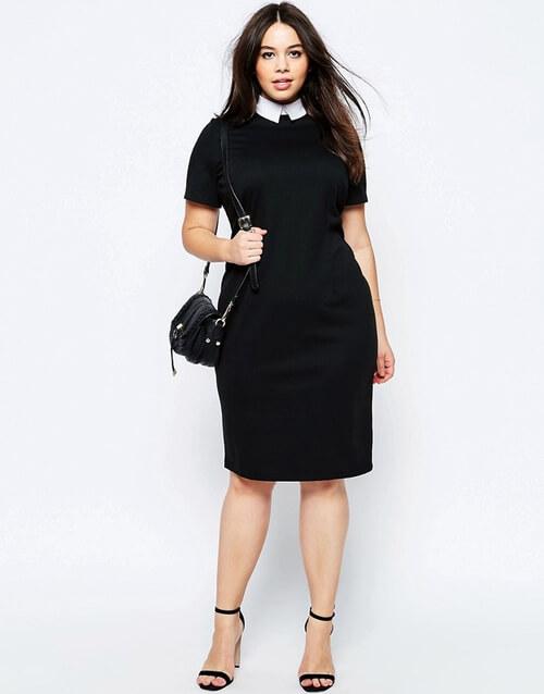 Váy công sở cổ cao màu đen
