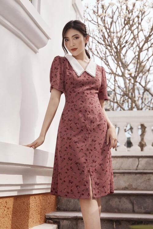 Đầm đỏ trầm viền cổ trắng