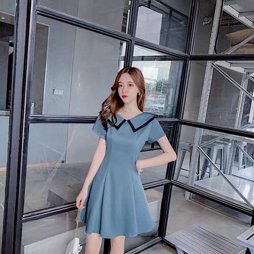 Đầm xanh cổ viền sang chảnh