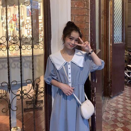 Đầm nhún eo cổ viền ren trắng
