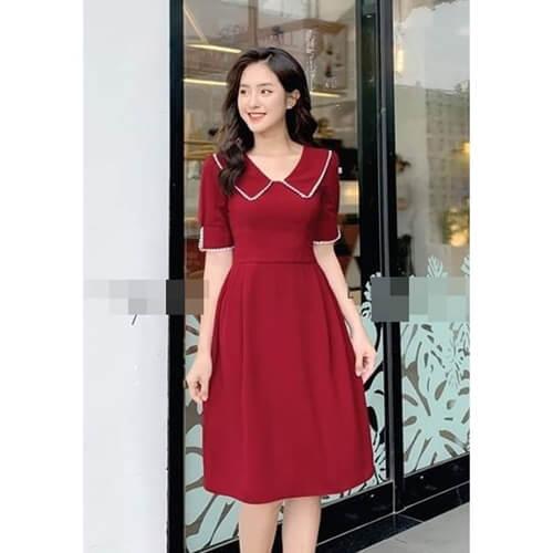 Đầm đỏ cổ viền sang chảnh