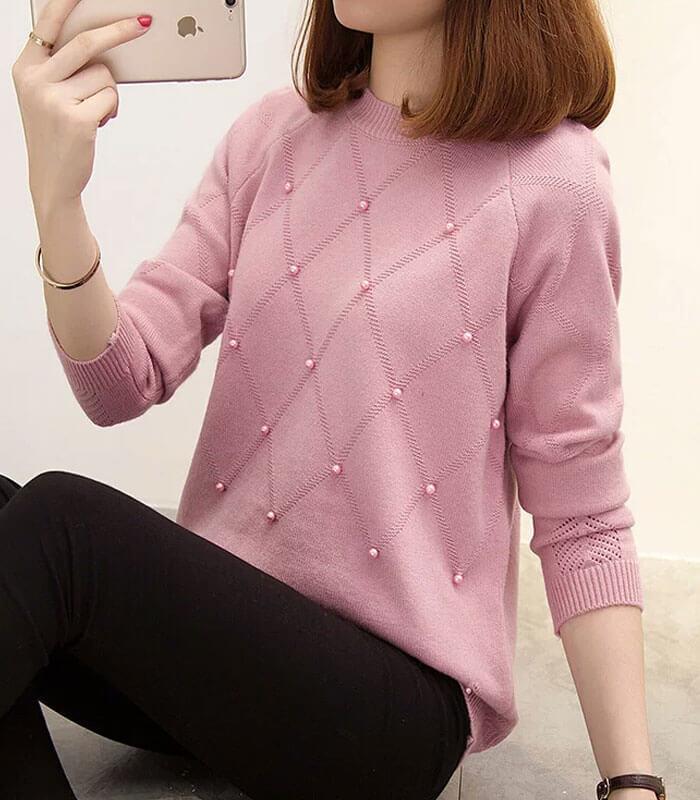 áo len đính hạt màu hồng
