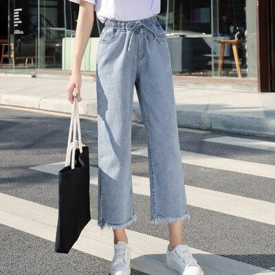 Quần jeans ống rộng lưng thun co giãn