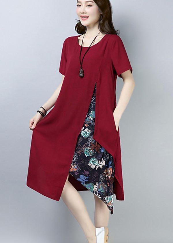 Đầm hoa đỏ mận cách điệu
